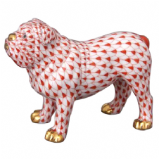 Herend Porcelain Fishnet Figurine of a Bulldog